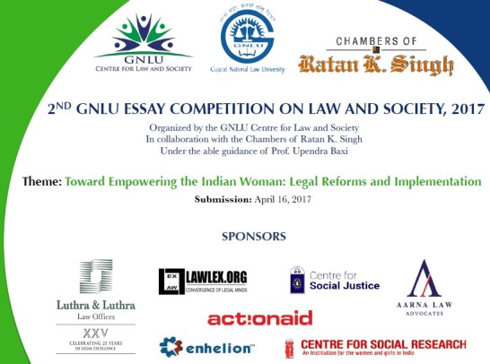 nd gnlu essay competition on law and society submit by the centre for law society gujarat national law university is organizing the 2nd edition of the gnlu essay competition on law and society a national level
