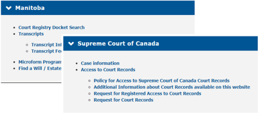 Examples of court record table