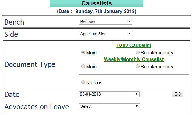 Bombay High Court Cause List