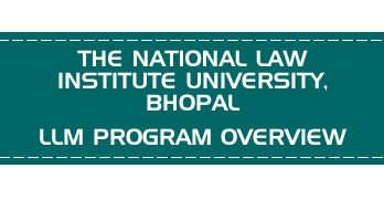 THE NATIONAL LAW INSTITUTE UNIVERSITY, BHOPAL CLAT LLM PG OVERVIEW LawMint.com