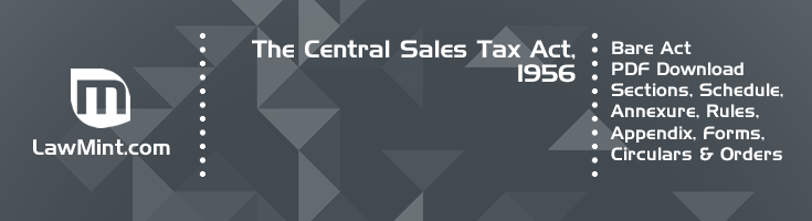The Central Sales Tax Act 1956 Bare Act PDF Download 2