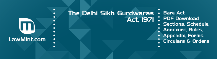 The Delhi Sikh Gurdwaras Act 1971 Bare Act PDF Download 2