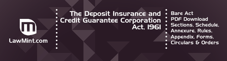 The Deposit Insurance and Credit Guarantee Corporation Act 1961 Bare Act PDF Download 2