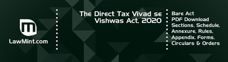 The Direct Tax Vivad se Vishwas Act 2020 Bare Act PDF Download 2