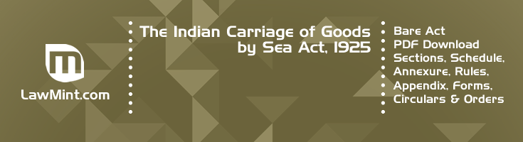 The Indian Carriage of Goods by Sea Act 1925 Bare Act PDF Download 2