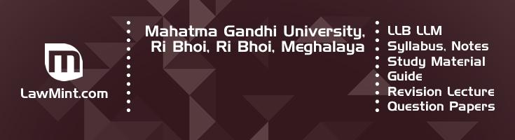 Mahatma Gandhi University Ri Bhoi LLB LLM Syllabus Revision Notes Study Material Guide Question Papers 1