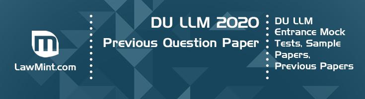 DU LLM 2020 Previous Question Paper Mock Test Model Paper Series