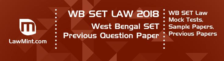 WB SET Law 2018 Previous Question Paper Mock Test Model Paper Series