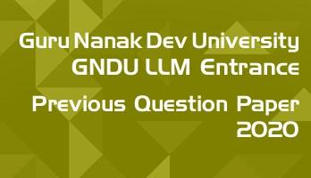 Guru Nanak Dev GNDU LLM Entrance 2020 Previous Question Paper Mock Test Sample Paper
