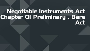 Negotiable Instruments Act Chapter 01 Preliminary Bare Act