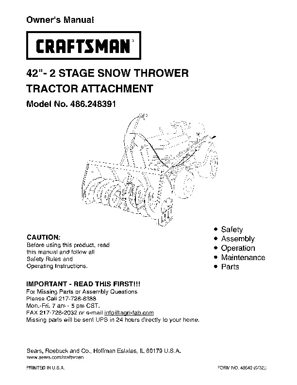 Thrower Attachment Snow Craftsman 42