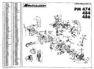 McCulloch Promac 474 484 486 Chainsaw Service Parts List