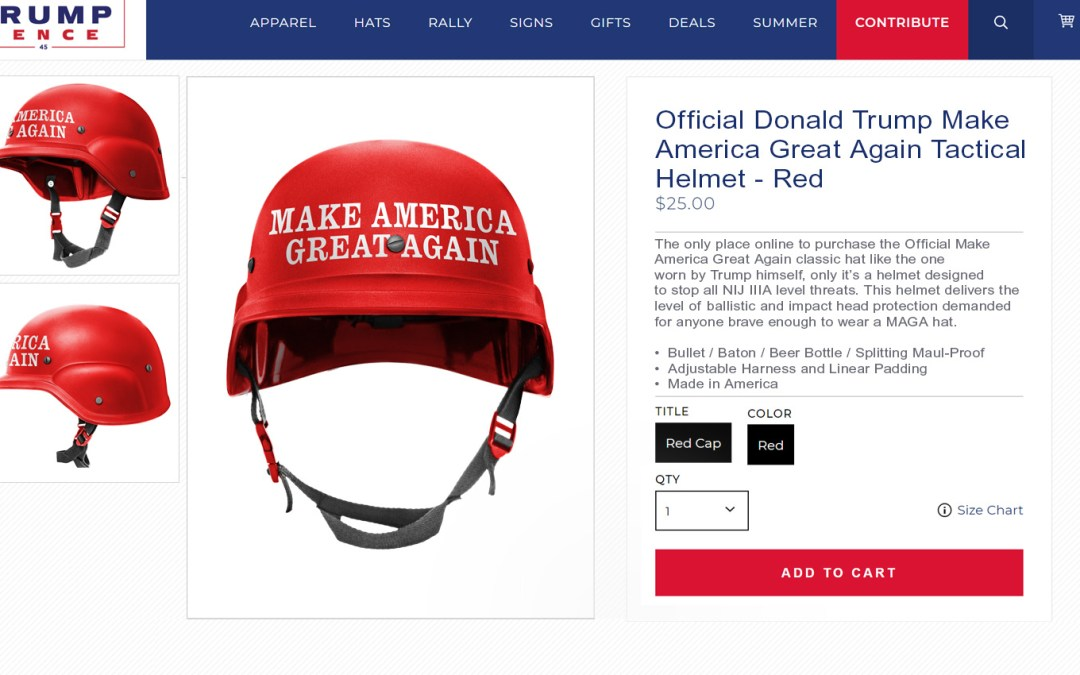 More Protective MAGA Helmets Now Available For Trump Supporters Brave Enough To Go Out In Public