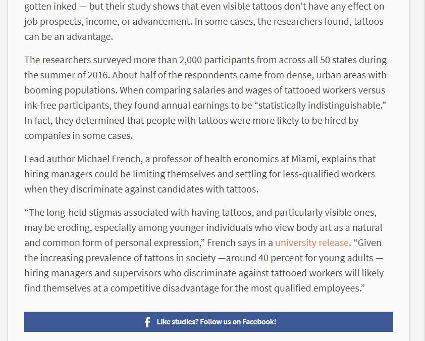 """Article on Study Claiming Tattoos Help Job Seekers Gets 162 """"Thumbs Down"""" and Only One Like (Last Count)"""