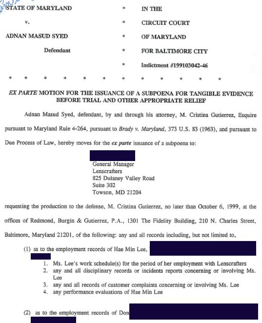 Criminal Records Subpoena