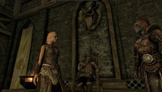 deirdre, Balgruuf and Irileth with dragon skull