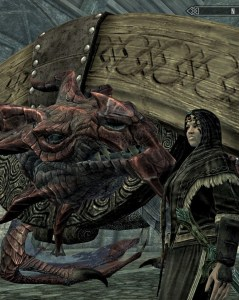 Deirdre speaks with Odahviing after the dragon's capture