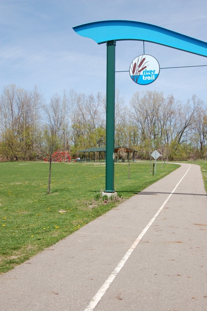 The southern end of the Lansing River Trail at Jolly Rd.