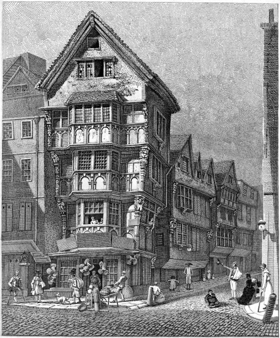 Houses on the Corner of Chancery Lane & Fleet St – Drawn August 1789, Taken Down May 1799.