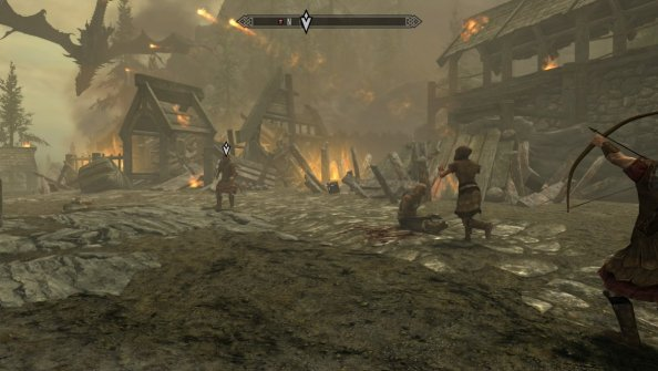 Pic of Alduin attacking Helgen
