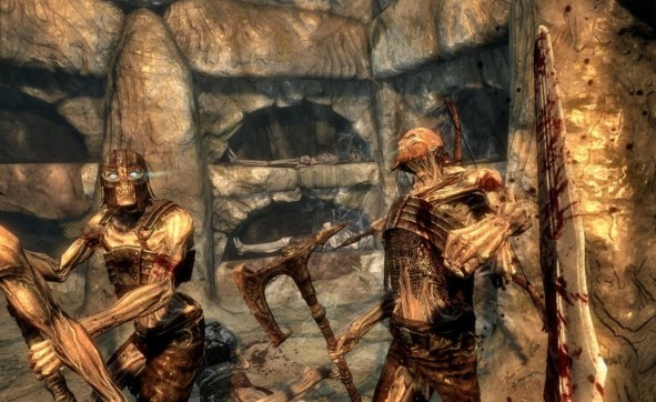 Pic of a battle with draugr in a Nord crypt