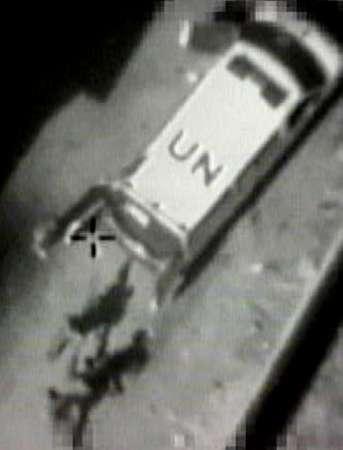 UN ambulance with jihadists (Israeli drone pic)