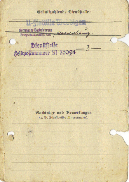 Family medical care card (back). The Weddigen Flotilla is clearly indicated, while Feldpost M36094 indicates the 3rd U-flotilla.