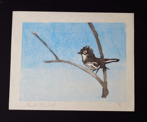 "Gerald Mulka, ""Phoebe"", wood block print, 12x12, $75"