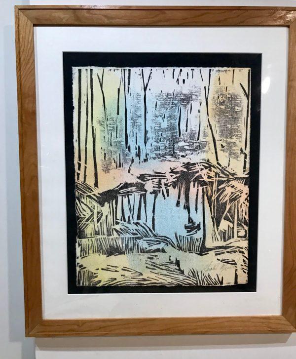 "Gerald Mulka, ""Reflections"", wood block print, 16x12, $150"