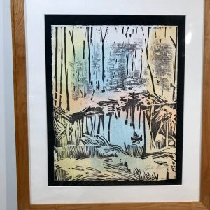 "Gerald Mulka, ""Reflections"", wood block print, 16x12, $150"