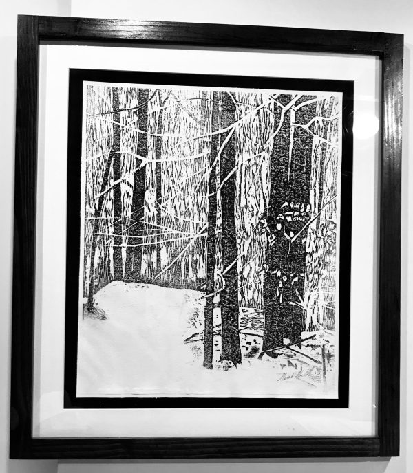 "Gerald Mulka, ""Winter 2018"", wood block print, 18x16, $150"