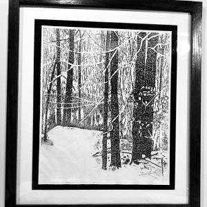 "Gerald Mulka, ""Winter 2018"", wood block print, 18x16, $150"