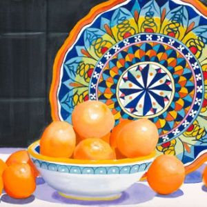 """Sherry Adams Foster, """"Clementines"""", Watercolor, 34x41, $600"""