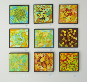 """Laura Whitesides Host, """"9 Square Leaves"""" Water Color, Painting mounted on Wood/Canvas, 12 x 12 each $125"""