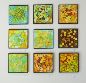 "Laura Whitesides Host, ""9 Square Leaves"" Water Color, Painting mounted on Wood/Canvas, 12 x 12 each $125"