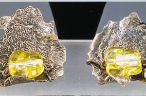 Alice Frank, Silver antiqued earrings with yellow glass, $45