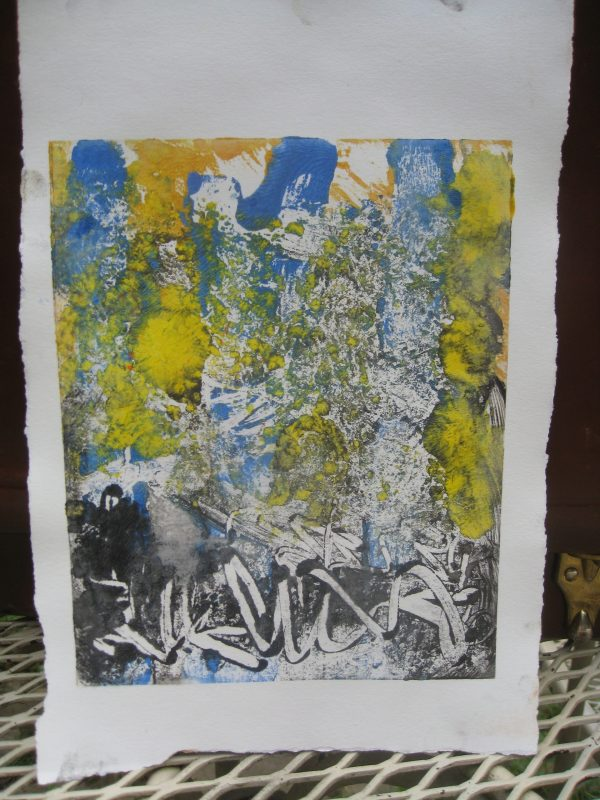 """Carol Izant, """"Light in the Forest"""", 6x8, monotype on paper, $150"""