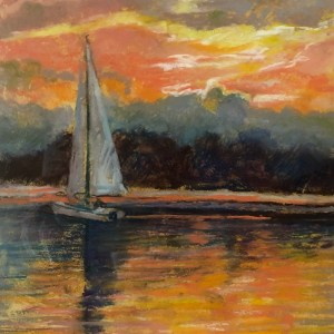 "Kathie Troshynski, ""Sunset Sail"", Pastel, 10 x 7.5, plus frame, $125 includes frame"