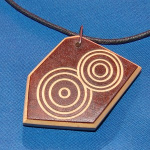 "Dennis Montville, ""Necklace A"" wood, cord, 2 x 2, $19.50"