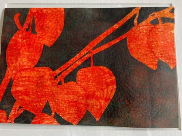 "Sherry Adams Foster, ""Japanese Lanterns"", monotype, 15 7/8 x 19 7/8, $150"