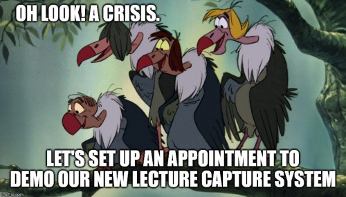 cartoon vultures representing evil vendors trying to sell Ed-Tech