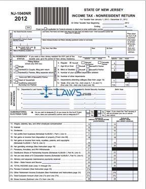 Form NJ-1040NR Income Tax Nonresident Return - Tax Forms ...