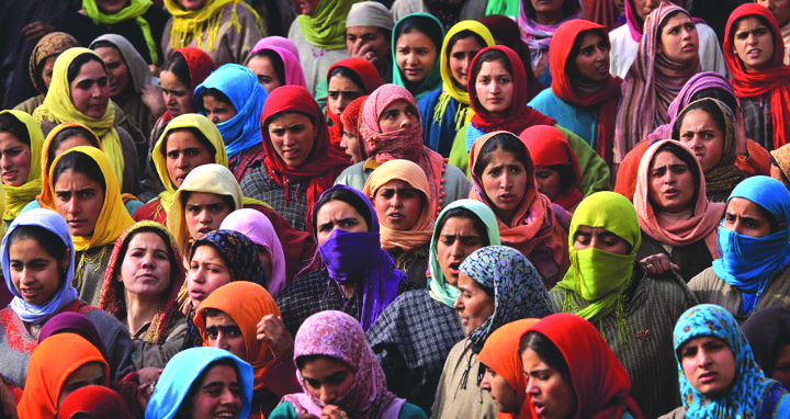 Crowd of women in headscarves