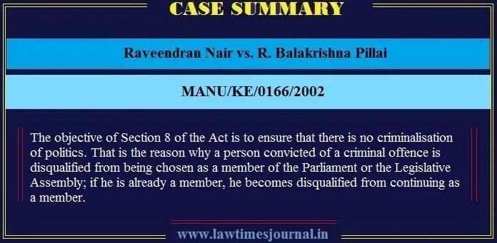 Raveendran Nair vs. R. Balakrishna Pillai