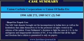 Union Carbide Corporation vs Union Of India Etc