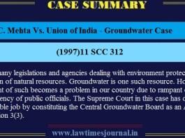 M.C. Mehta Vs. Union of India - Groundwater Case