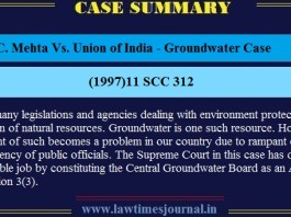 M.C. Mehta Vs. Union of India - Groundwater Case