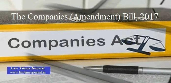 The companies(Amendment) Bill,2017