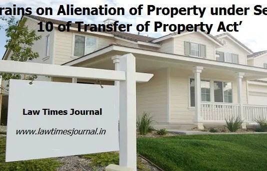 restrain on alienation of property