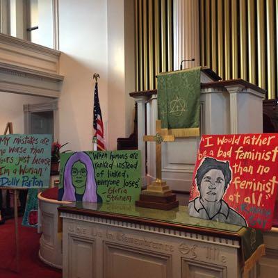 Trinity Methodist Church in Savannah, festooned with paintings by Panhandle Slim
